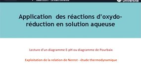 EAD Application des réactions des solutions d'oxydo-réduction en solution aqueuse (1)