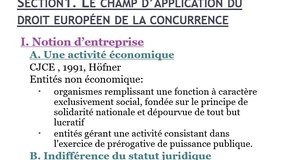 DMUE Le droit européen de la concurrence s. 1 champ d'application