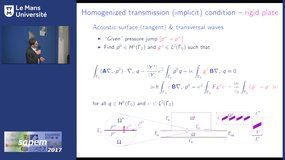 Acoustic wave transmission conditions on perforated rigid, or elastic plates - homogenization and computing